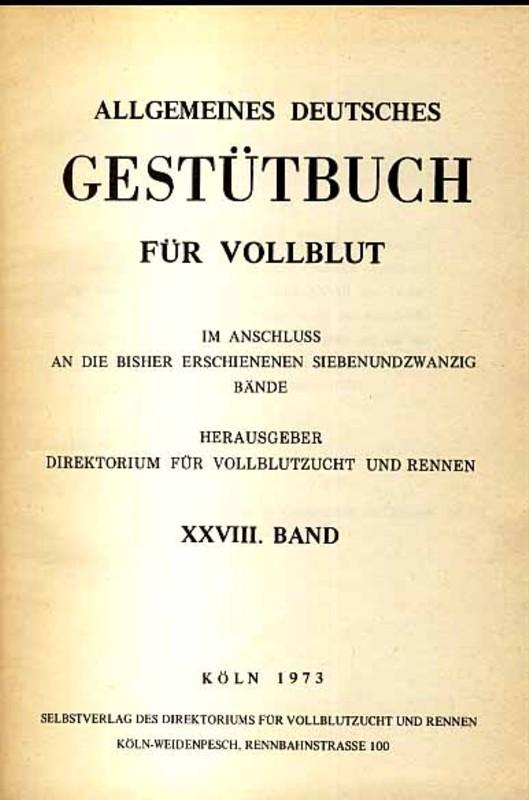 Allgemeines Deutsches Gestütbuch für Vollblut, 31. Band