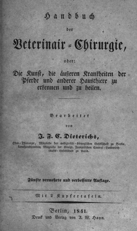 andbuch der Veterinair-Chirugie